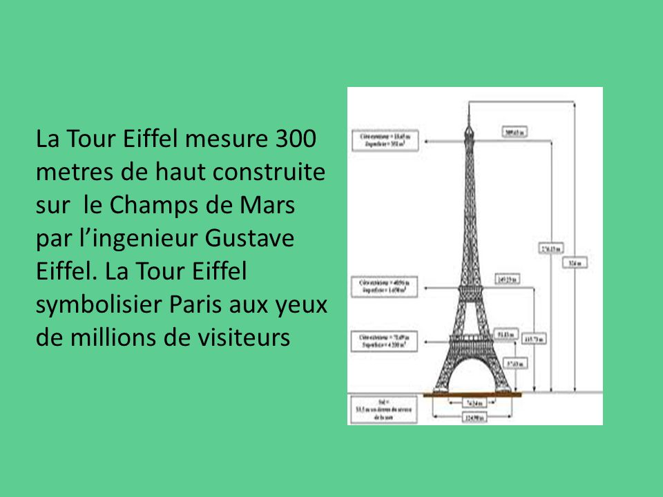 La Tour Eiffel mesure 300 metres de haut construite sur le Champs de Mars par l'ingenieur Gustave Eiffel.