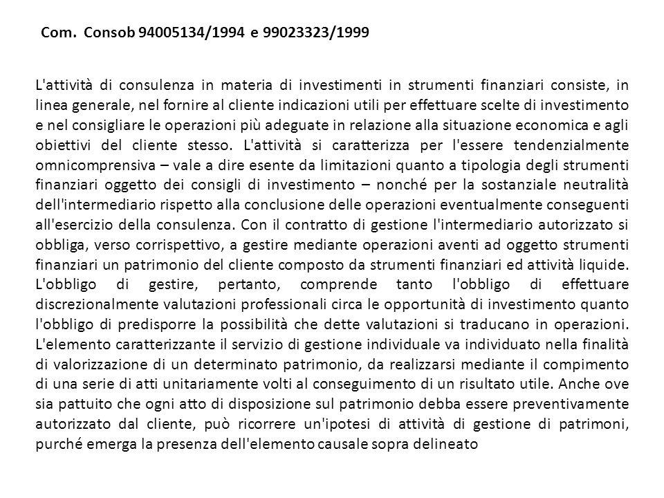 Com. Consob 94005134/1994 e 99023323/1999