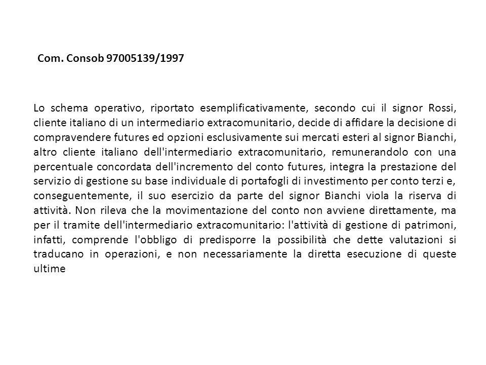 Com. Consob 97005139/1997