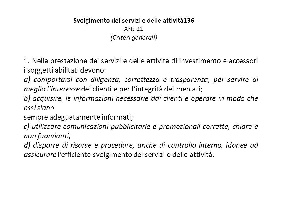 Svolgimento dei servizi e delle attività136