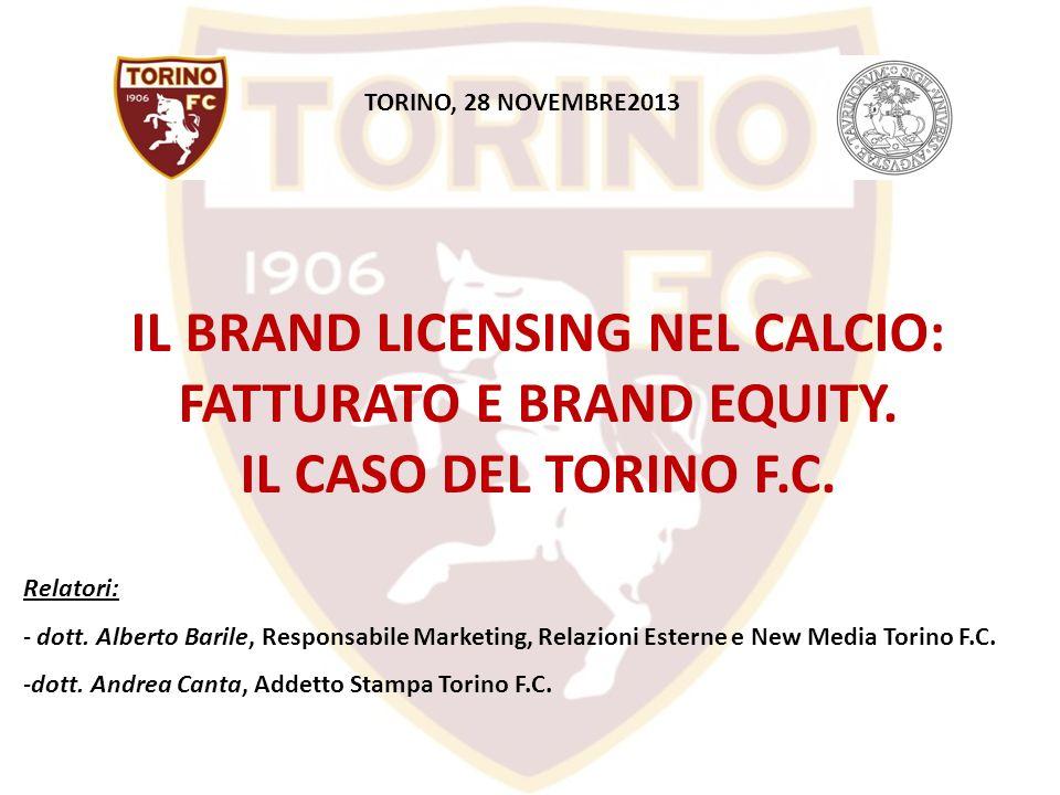TORINO, 28 NOVEMBRE2013IL BRAND LICENSING NEL CALCIO: FATTURATO E BRAND EQUITY. IL CASO DEL TORINO F.C.
