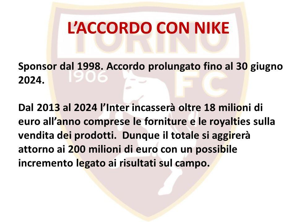 L'ACCORDO CON NIKE Sponsor dal 1998. Accordo prolungato fino al 30 giugno 2024.