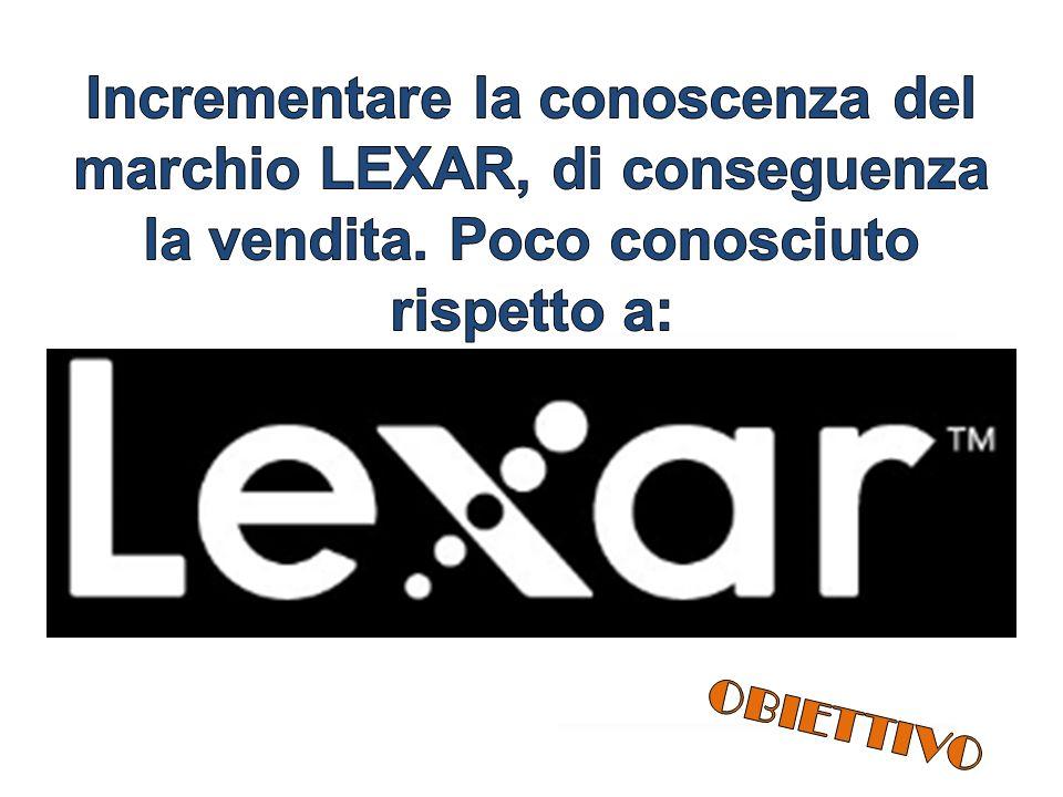 Incrementare la conoscenza del marchio LEXAR, di conseguenza la vendita. Poco conosciuto rispetto a: