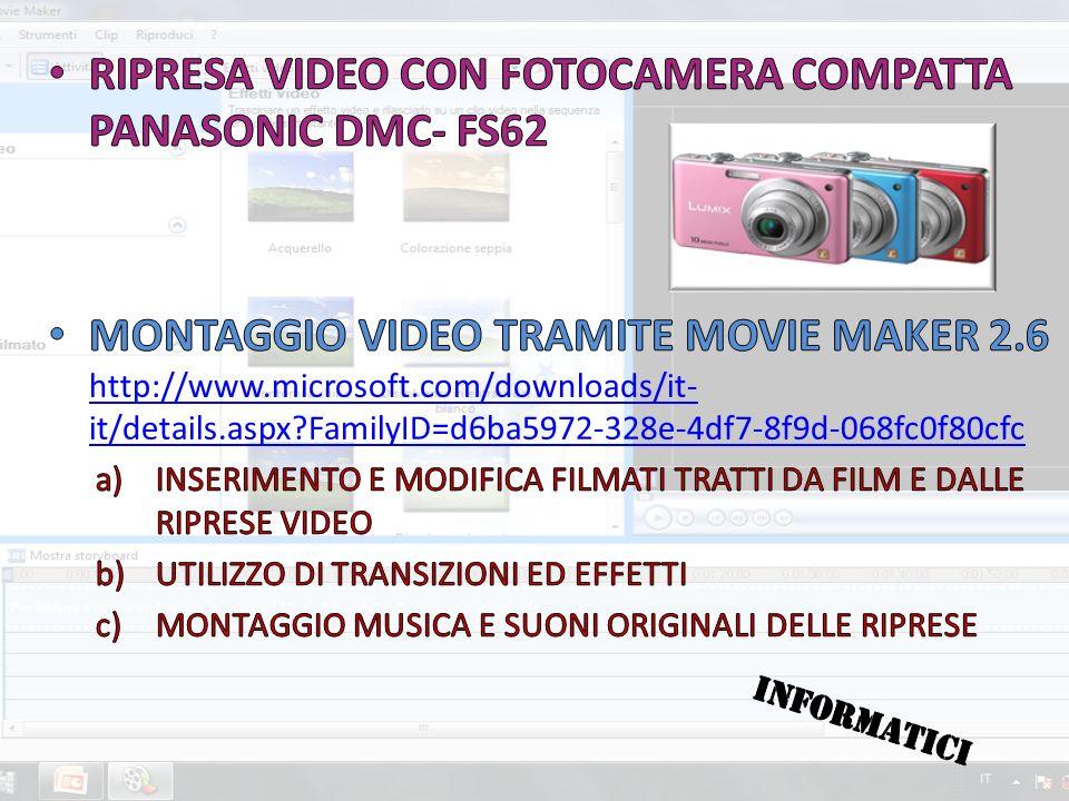 RIPRESA VIDEO CON FOTOCAMERA COMPATTA PANASONIC DMC- FS62