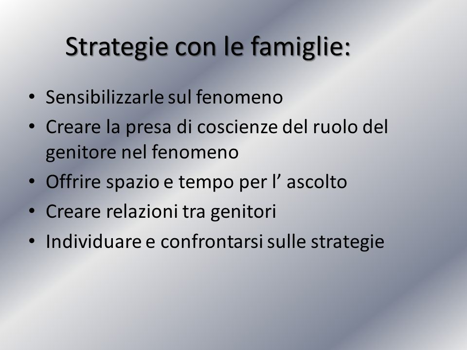 Strategie con le famiglie: