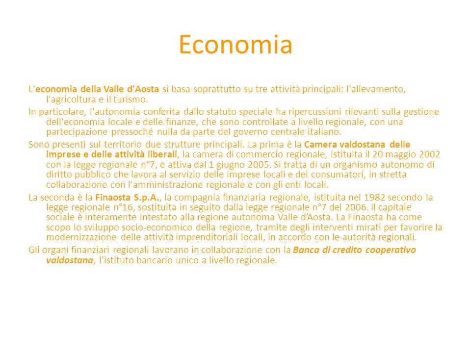 Economia L economia della Valle d Aosta si basa soprattutto su tre attività principali: l allevamento, l agricoltura e il turismo.