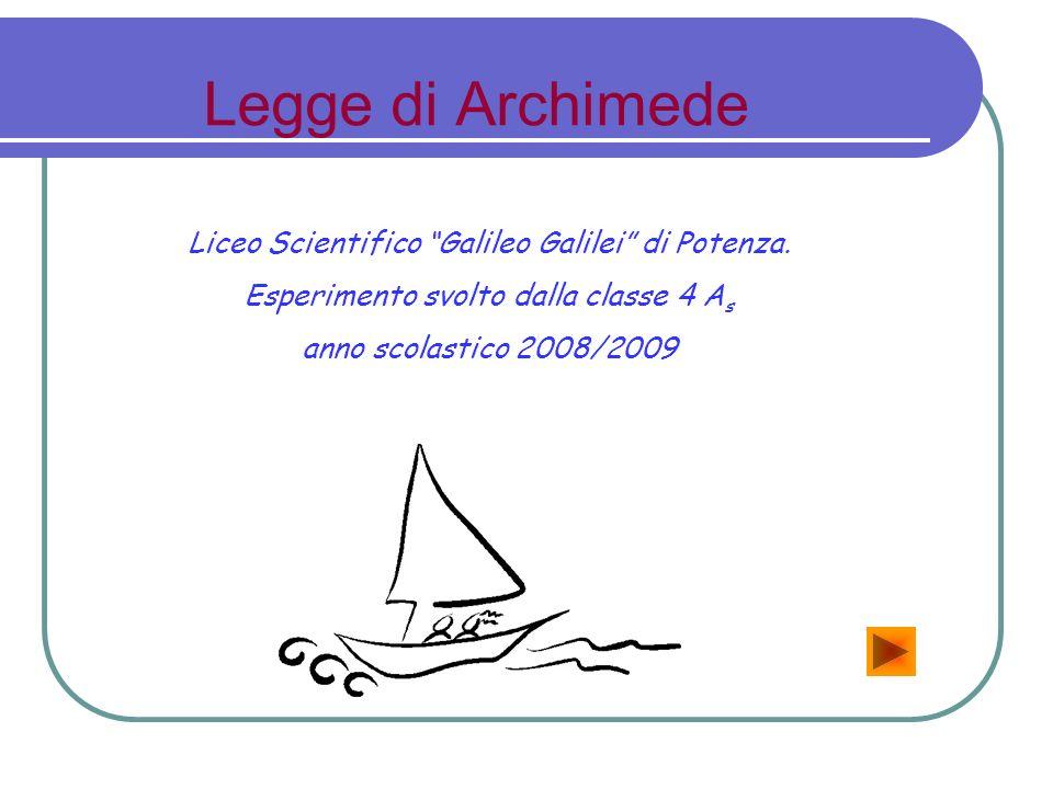 Legge di Archimede Liceo Scientifico Galileo Galilei di Potenza.