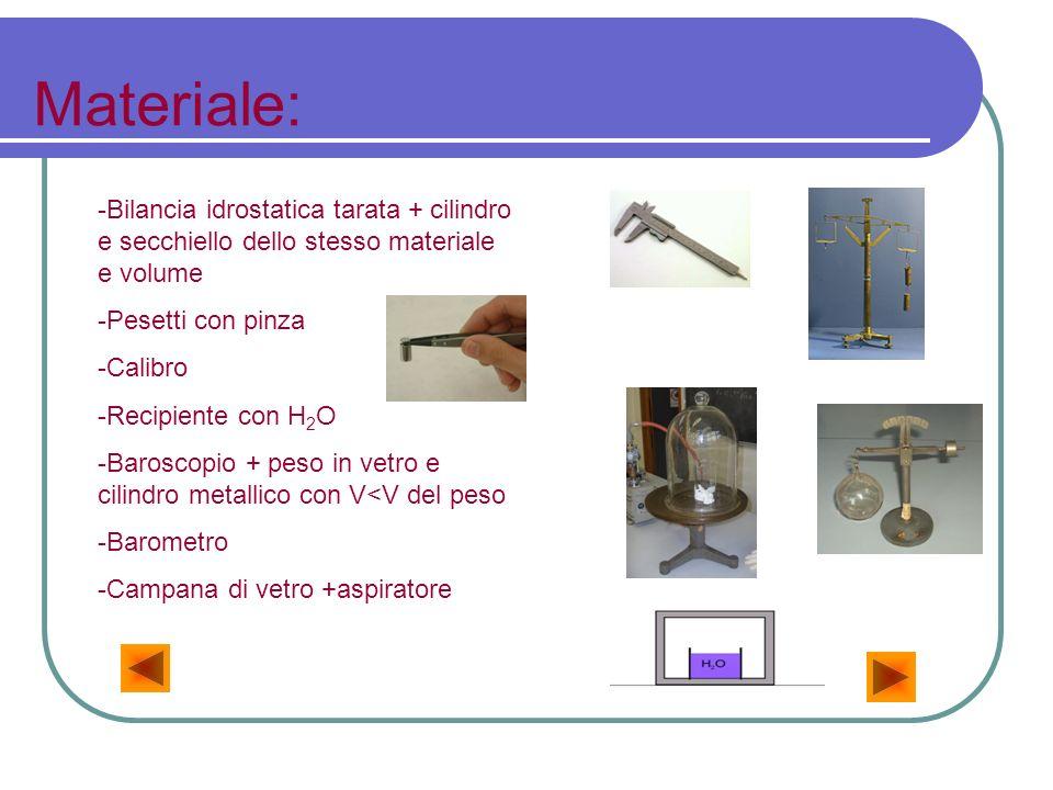 Materiale: -Bilancia idrostatica tarata + cilindro e secchiello dello stesso materiale e volume. -Pesetti con pinza.