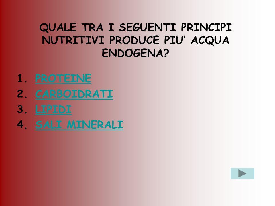 QUALE TRA I SEGUENTI PRINCIPI NUTRITIVI PRODUCE PIU' ACQUA ENDOGENA