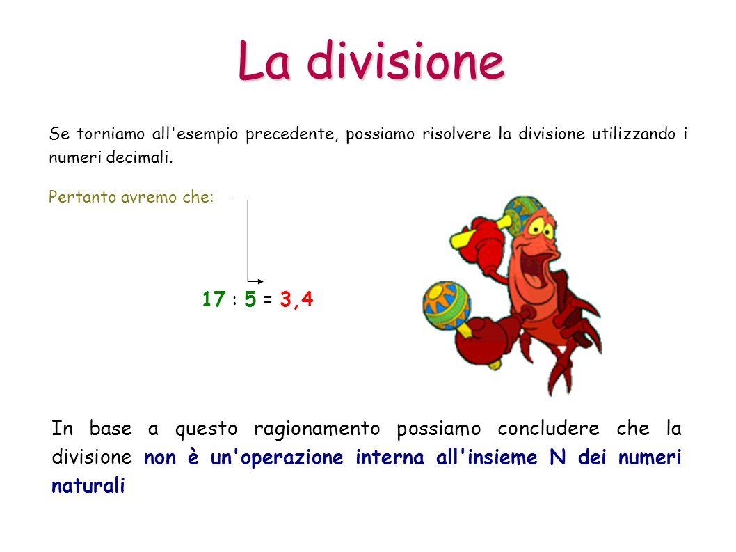 La divisione Se torniamo all esempio precedente, possiamo risolvere la divisione utilizzando i numeri decimali.