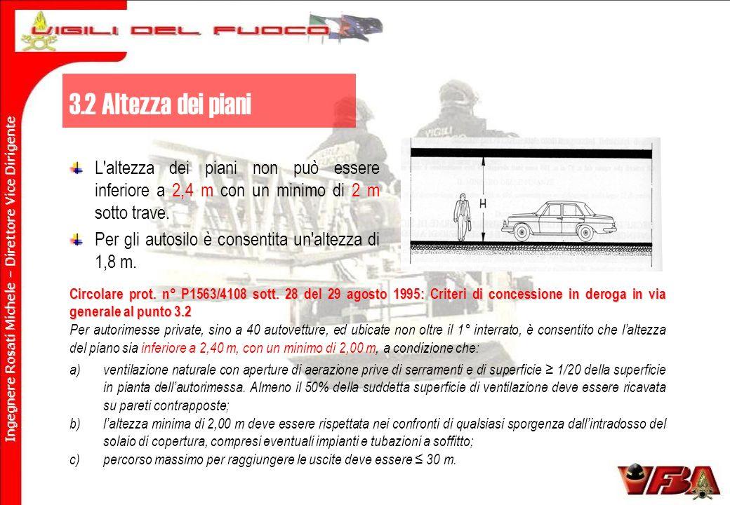 3.2 Altezza dei piani L altezza dei piani non può essere inferiore a 2,4 m con un minimo di 2 m sotto trave.