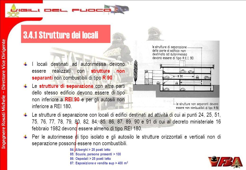3.4.1 Strutture dei locali I locali destinati ad autorimessa devono essere realizzati con strutture non separanti non combustibili di tipo R 90.