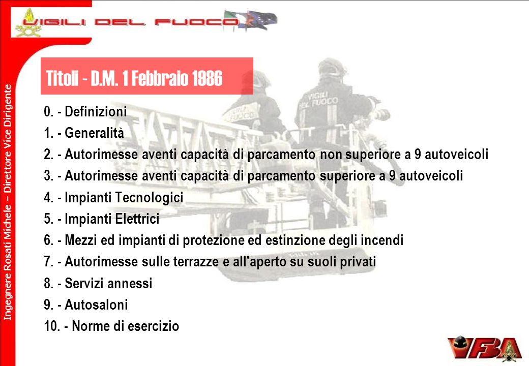 Titoli - D.M. 1 Febbraio 1986 0. - Definizioni 1. - Generalità