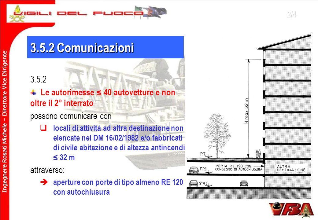 2/4 3.5.2 Comunicazioni. 3.5.2. Le autorimesse ≤ 40 autovetture e non oltre il 2° interrato. possono comunicare con.