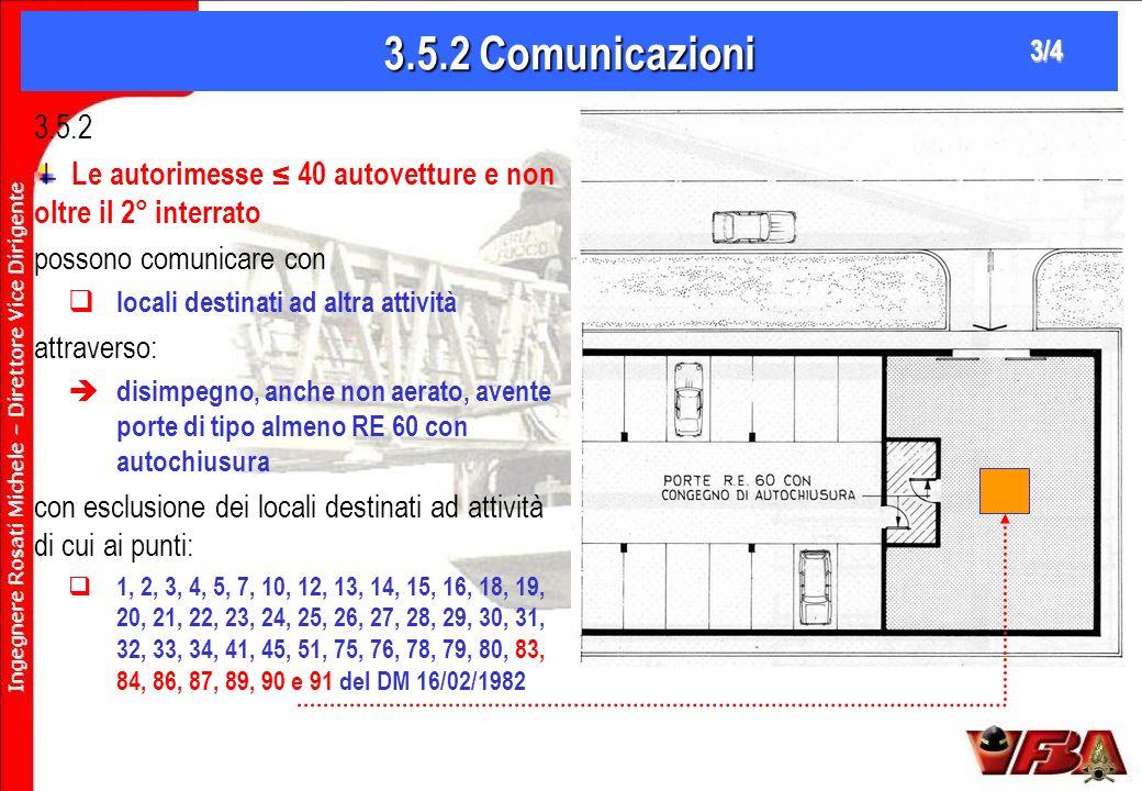 3.5.2 Comunicazioni 3/4. 3.5.2. Le autorimesse ≤ 40 autovetture e non oltre il 2° interrato. possono comunicare con.
