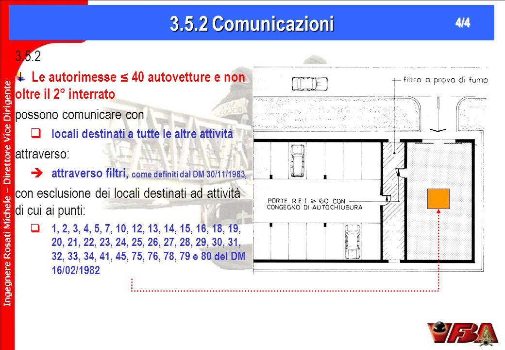 3.5.2 Comunicazioni 4/4. 3.5.2. Le autorimesse ≤ 40 autovetture e non oltre il 2° interrato. possono comunicare con.
