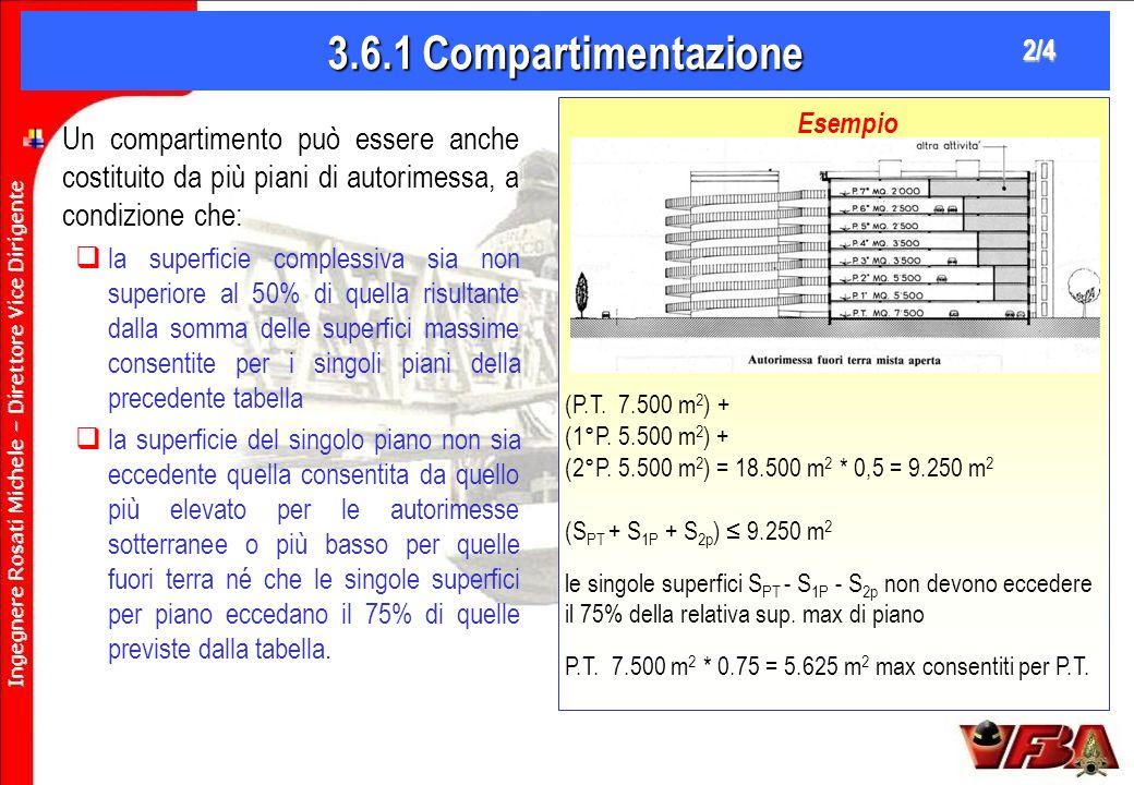 3.6.1 Compartimentazione 2/4. (P.T. 7.500 m2) + (1°P. 5.500 m2) + (2°P. 5.500 m2) = 18.500 m2 * 0,5 = 9.250 m2.