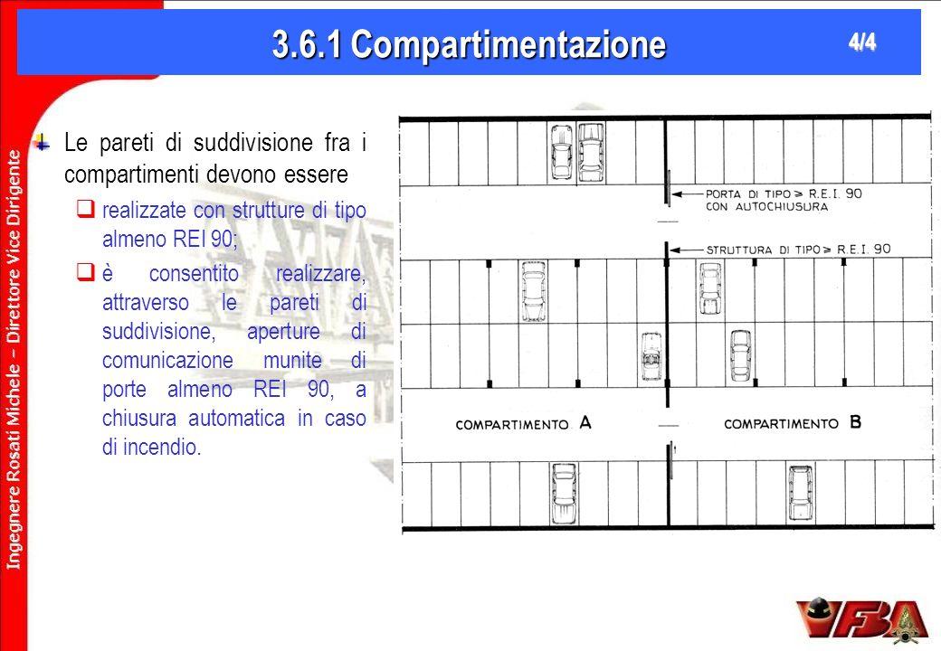 3.6.1 Compartimentazione 4/4. Le pareti di suddivisione fra i compartimenti devono essere. realizzate con strutture di tipo almeno REI 90;
