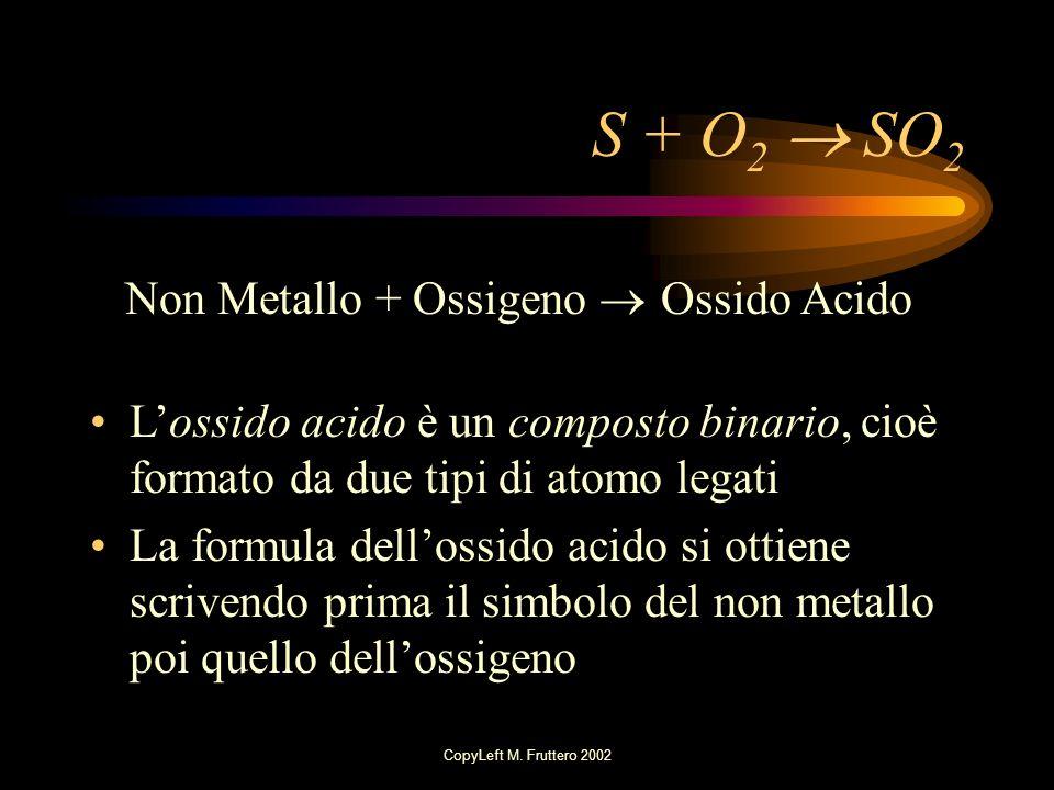S + O2  SO2 Non Metallo + Ossigeno  Ossido Acido