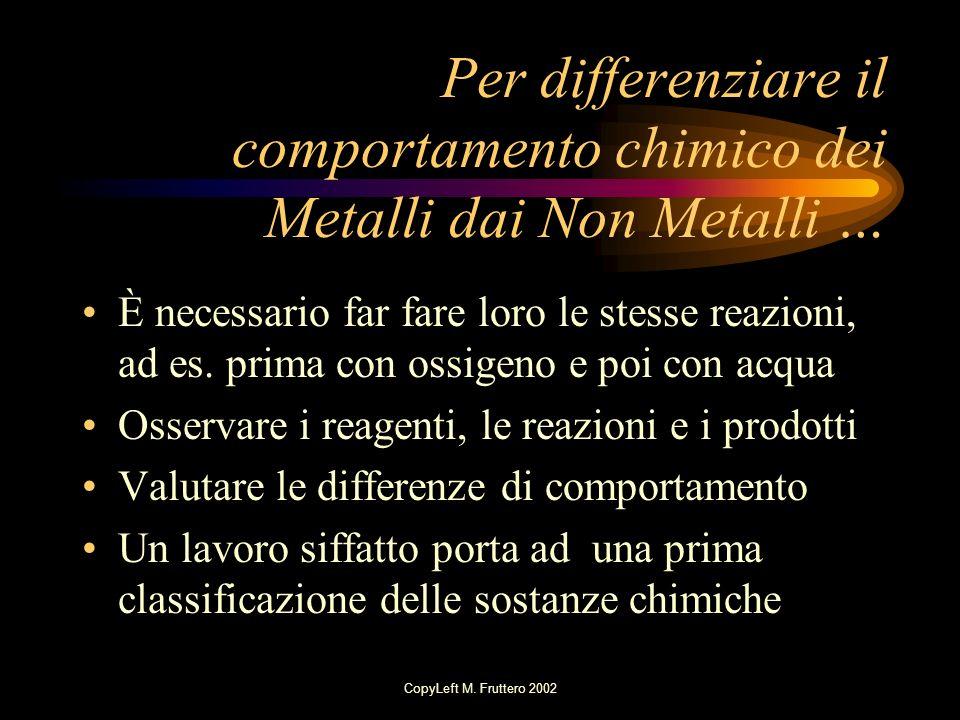 Per differenziare il comportamento chimico dei Metalli dai Non Metalli …