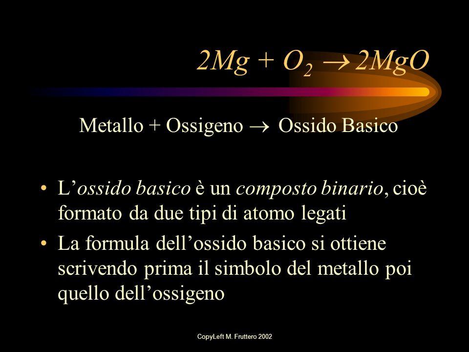 2Mg + O2  2MgO Metallo + Ossigeno  Ossido Basico