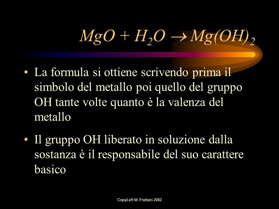 MgO + H2O  Mg(OH)2 La formula si ottiene scrivendo prima il simbolo del metallo poi quello del gruppo OH tante volte quanto è la valenza del metallo.