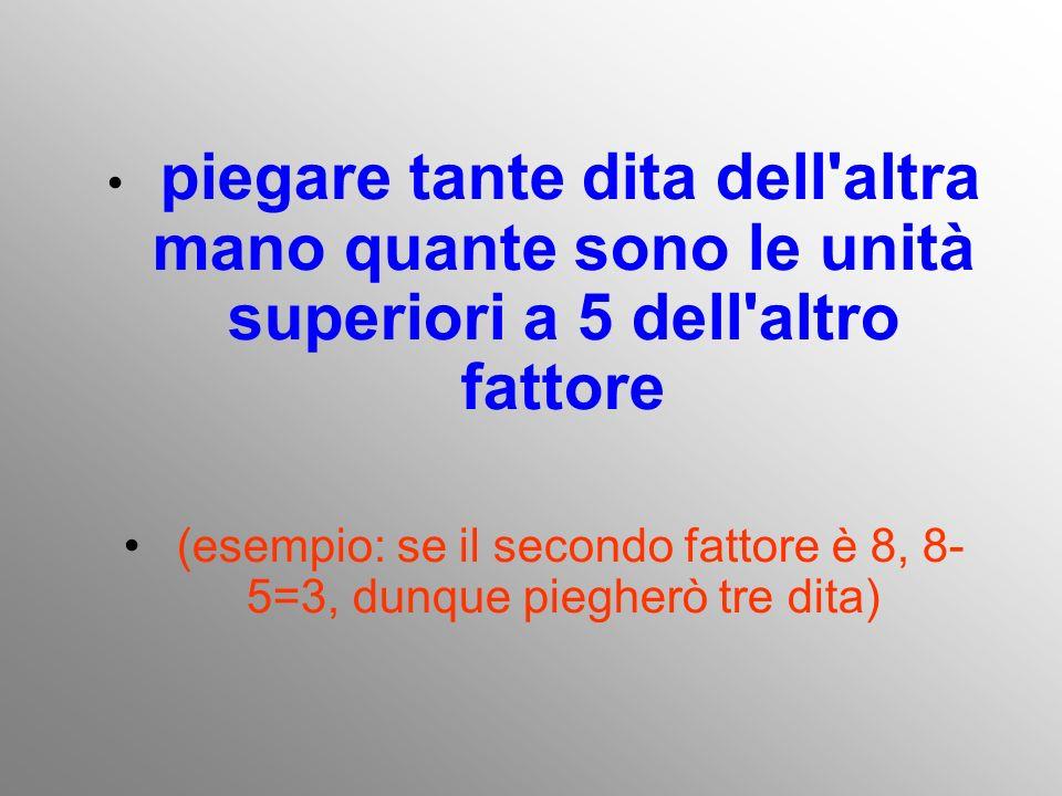 (esempio: se il secondo fattore è 8, 8-5=3, dunque piegherò tre dita)
