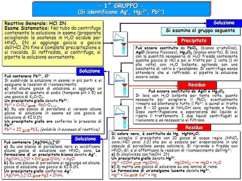 (Si identificano Ag+, Hg22+, Pb2+) Si esamina al gruppo seguente
