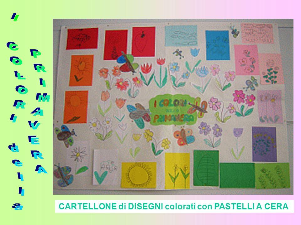CARTELLONE di DISEGNI colorati con PASTELLI A CERA