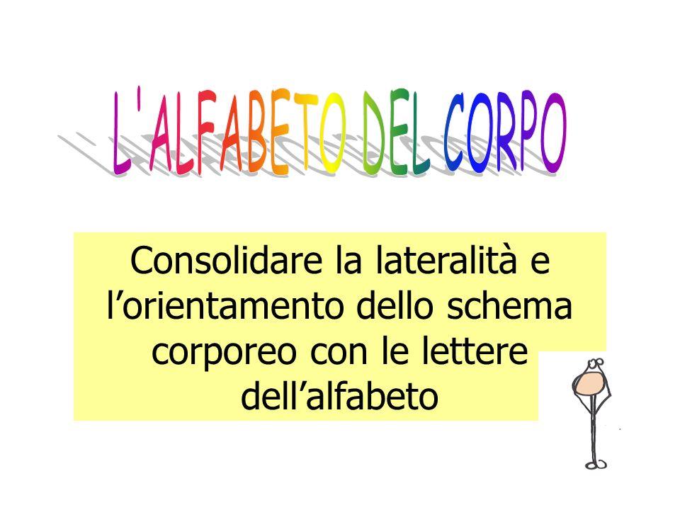 L ALFABETO DEL CORPO Consolidare la lateralità e l'orientamento dello schema corporeo con le lettere dell'alfabeto.