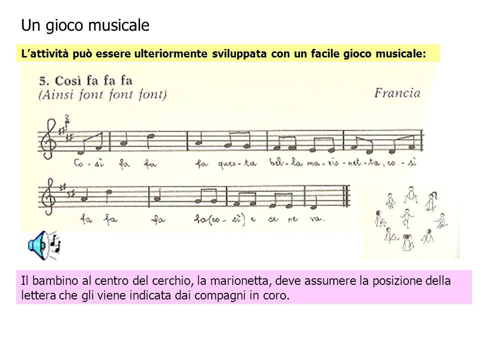 Un gioco musicale L'attività può essere ulteriormente sviluppata con un facile gioco musicale: