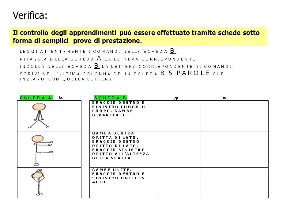 Verifica: Il controllo degli apprendimenti può essere effettuato tramite schede sotto forma di semplici prove di prestazione.