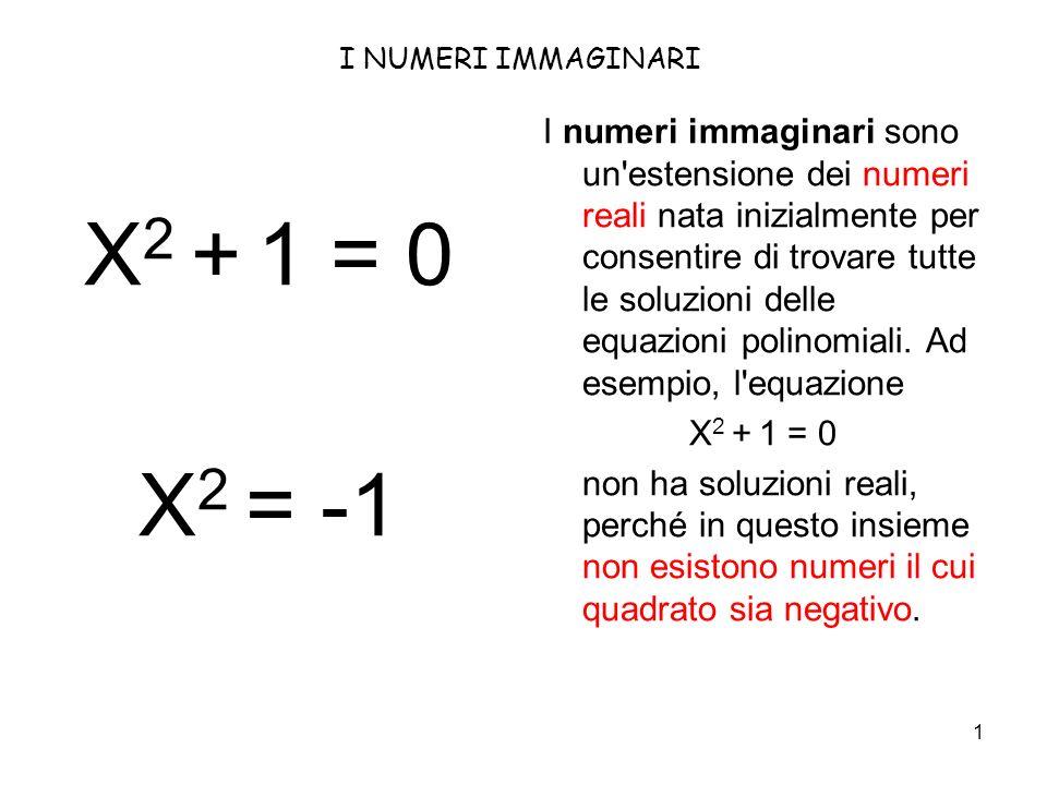 I NUMERI IMMAGINARI X2 + 1 = 0. X2 = -1.