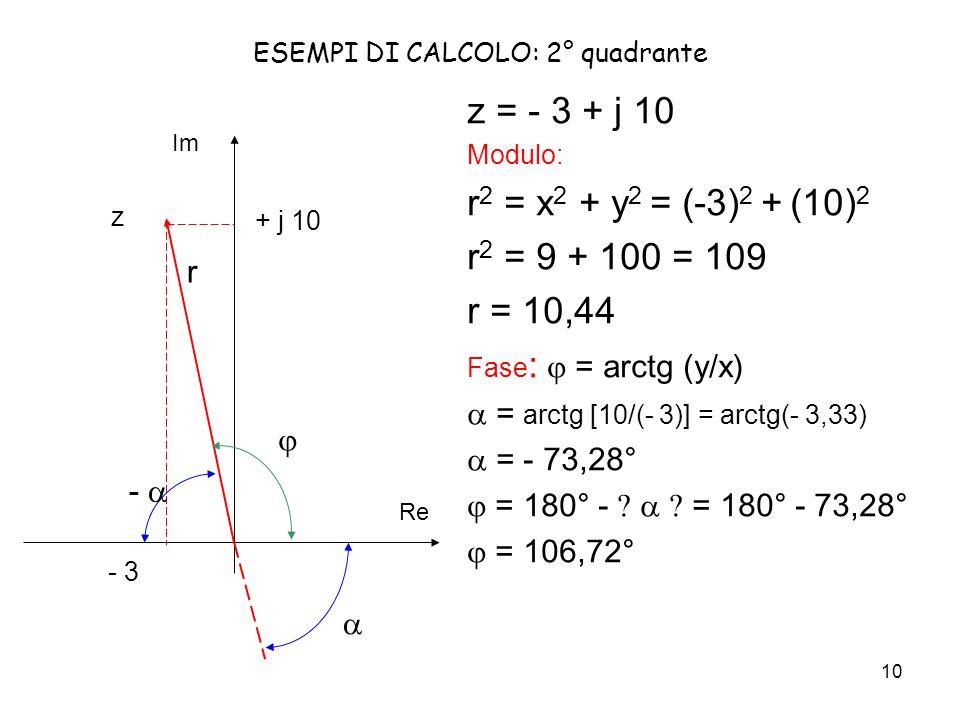 ESEMPI DI CALCOLO: 2° quadrante