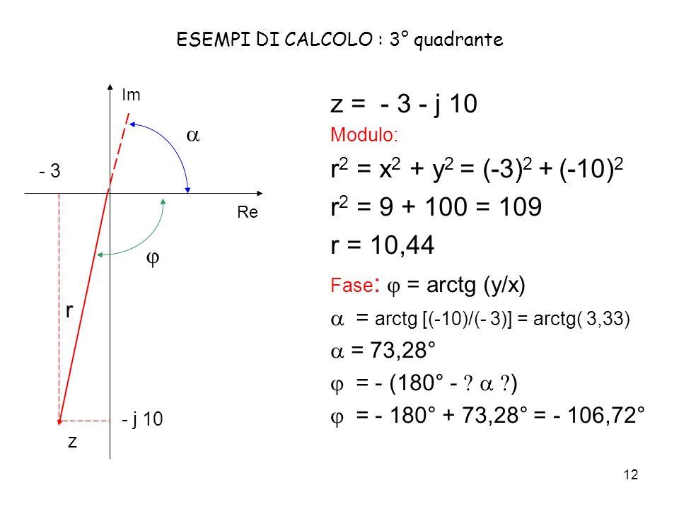 ESEMPI DI CALCOLO : 3° quadrante