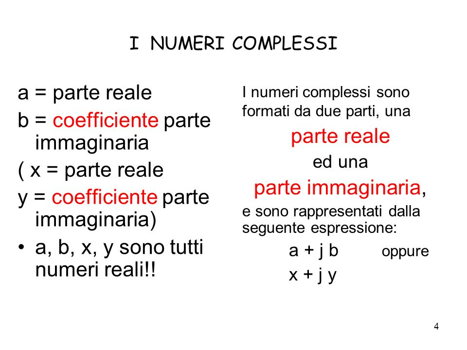 b = coefficiente parte immaginaria ( x = parte reale