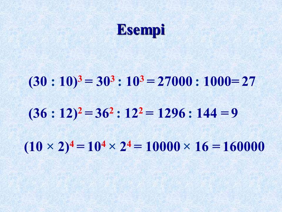 Esempi(30 : 10)3 = 303 : 103 = 27000 : 1000= 27.(36 : 12)2 = 362 : 122 = 1296 : 144 = 9.