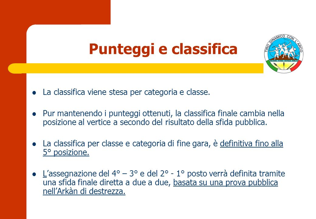Punteggi e classifica La classifica viene stesa per categoria e classe.