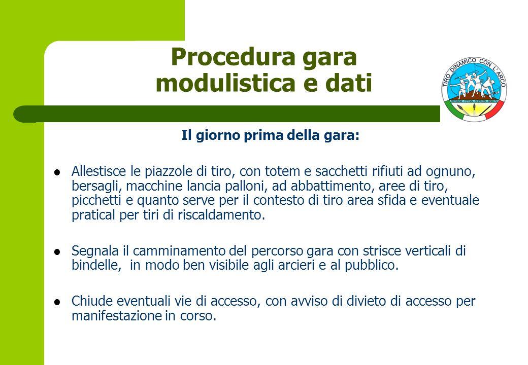 Procedura gara modulistica e dati Il giorno prima della gara:
