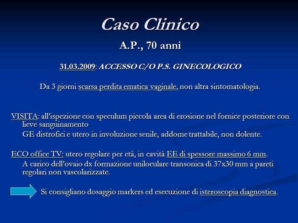 Caso Clinico A.P., 70 anni 31.03.2009: ACCESSO C/O P.S. GINECOLOGICO