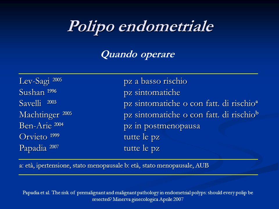 Polipo endometriale Quando operare Lev-Sagi 2005 pz a basso rischio