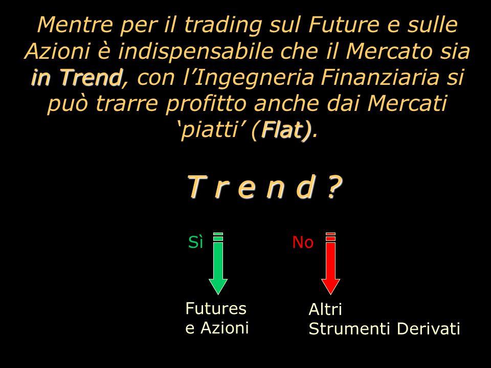 Mentre per il trading sul Future e sulle Azioni è indispensabile che il Mercato sia in Trend, con l'Ingegneria Finanziaria si può trarre profitto anche dai Mercati 'piatti' (Flat). T r e n d