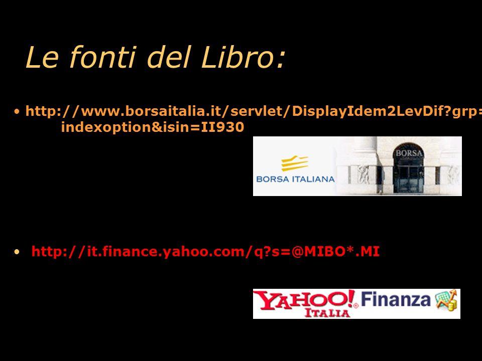 Le fonti del Libro: http://www.borsaitalia.it/servlet/DisplayIdem2LevDif grp= indexoption&isin=II930.