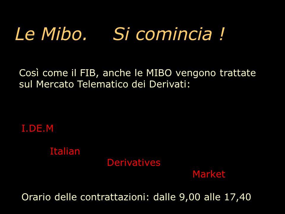 Le Mibo. Si comincia ! Così come il FIB, anche le MIBO vengono trattate sul Mercato Telematico dei Derivati: