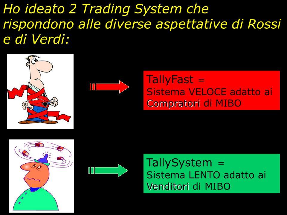 Ho ideato 2 Trading System che rispondono alle diverse aspettative di Rossi e di Verdi: