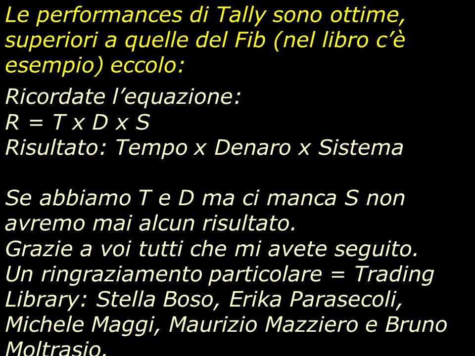 Le performances di Tally sono ottime, superiori a quelle del Fib (nel libro c'è esempio) eccolo: