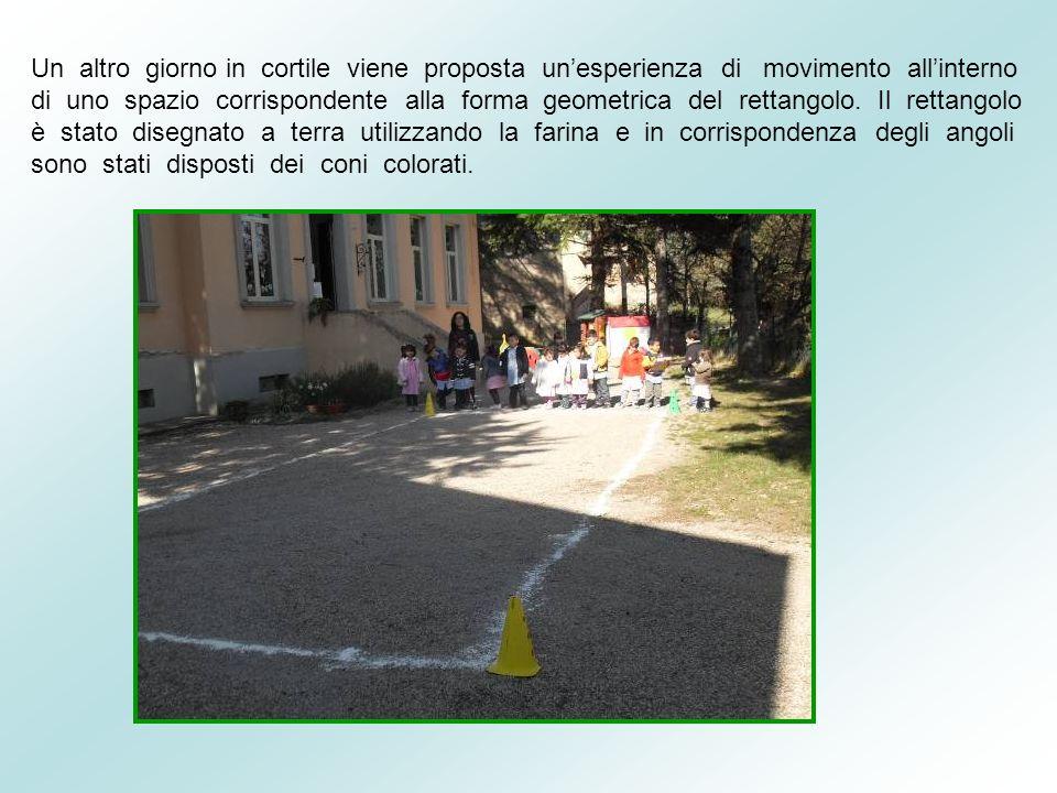 Un altro giorno in cortile viene proposta un'esperienza di movimento all'interno di uno spazio corrispondente alla forma geometrica del rettangolo.