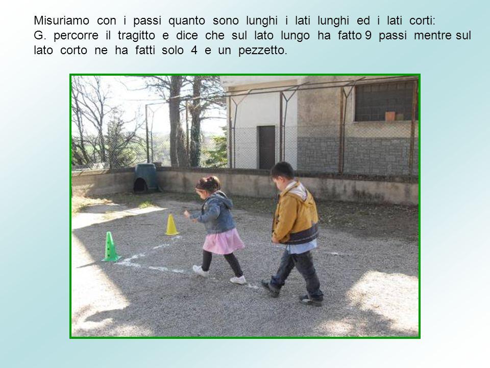 Misuriamo con i passi quanto sono lunghi i lati lunghi ed i lati corti: G.