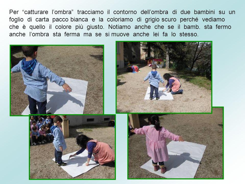 Per catturare l'ombra tracciamo il contorno dell'ombra di due bambini su un foglio di carta pacco bianca e la coloriamo di grigio scuro perché vediamo che è quello il colore più giusto.