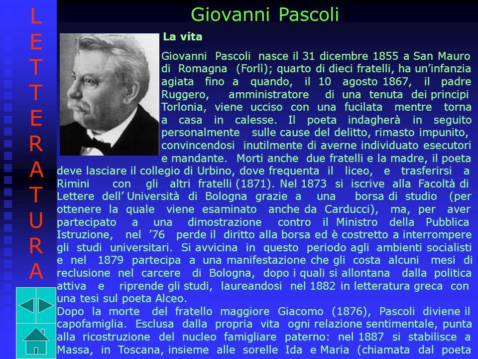 LETTERATURA Giovanni Pascoli La vita